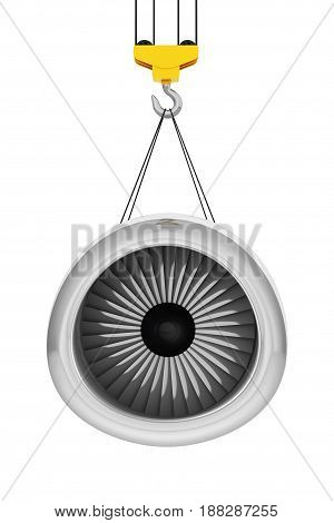 Crane Hook Lift Aircraft Jet Engine on a white background. 3d Rendering.