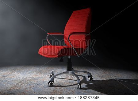 Red Leather Boss Office Chair in the Volumetric Light on a black background. 3d Rendering.