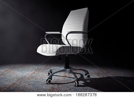 White Leather Boss Office Chair in the Volumetric Light on a black background. 3d Rendering.