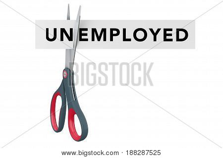 Cutting Unemployede to Employed Paper Sign with Scissors on a white background. 3d Rendering.