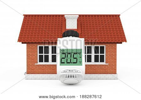 Digital Wireless Radiator Thermostatic Valve near House Building on a white background. 3d Rendering.