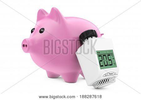 Digital Wireless Radiator Thermostatic Valve near Piggy Bank on a white background. 3d Rendering.