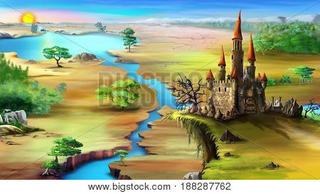 Magical fairy tale castle on a rock above the blue river in a summer morning. Digital painting background Illustration in cartoon style character.