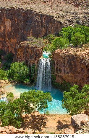 Shot of Havasu Falls taken from the mesa overlooking the falls.
