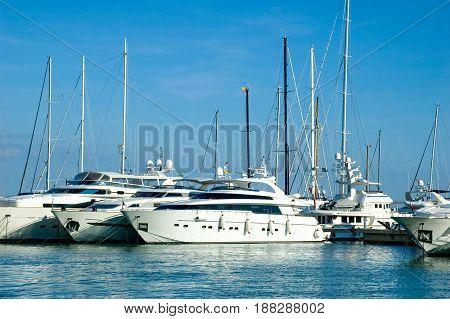 Yachts docked at the marina in Mallorca Spain