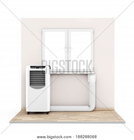 Portable Mobile Room Air Conditioner with Hose connected to Window in Room on a white background. 3d Rendering.