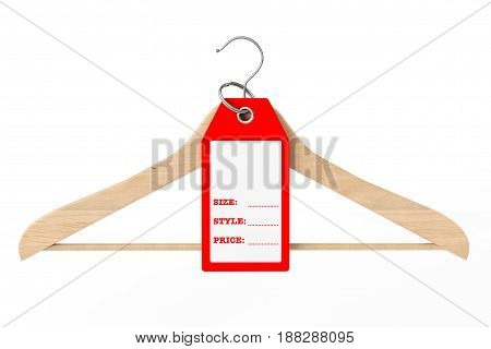 Wooden Clothes Hanger and Dress Tag with Size Style and Price Sign with Blank Space for Your Text on a white background. 3d Rendering.