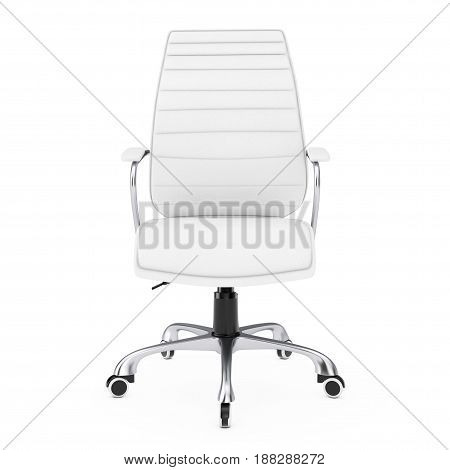 White Leather Boss Office Chair on a white background. 3d Rendering.