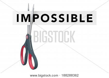 Cutting Impossible to Possible Paper Sign with Scissors on a white background. 3d Rendering.
