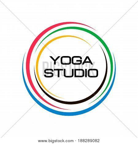 Creative circle yoga studio colorful logo symbol web geometric icon. Decorative modern design art emblem banner vector on isolated white background