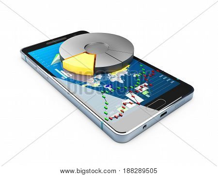 3D Illustration Of Phone With Chart Pie And Stock Market Char On The Screen. Stock Market Online Bus