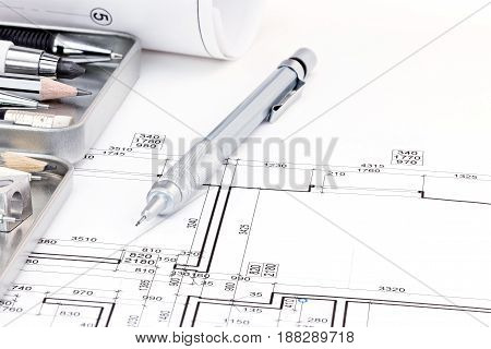 Architects Drawing Tools And Architectural Plan Of Apartment