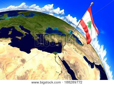 Lebanon national flag marking the country location on world map. 3D rendering, parts of this image furnished by NASA