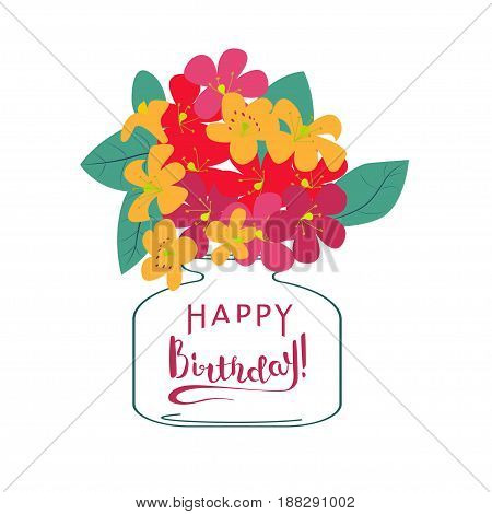 Happy Birthday Greeting Card with flowers pastel colors. Vector Illustration eps 10