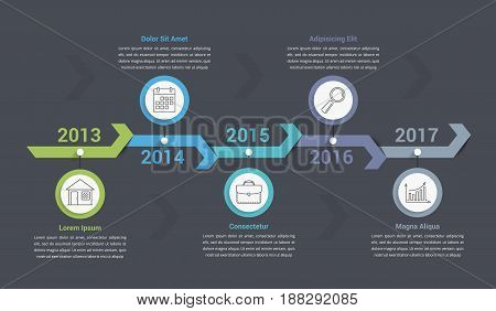 Timeline infographics template with arrows workflow or process diagram can be used as steps or options vector eps10 illustration