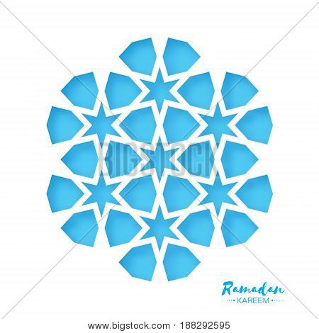 Ramadan Kareem Greeting card .Blue Origami Arabesque Mosque Window. Arabic Ornamental pattern in paper cut style.Holy month of muslim. Vector illustration.