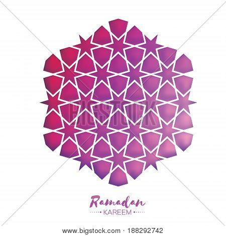 Ramadan Kareem Greeting card . Purple Origami Arabesque Mosque Window. Arabic Ornamental pattern in paper cut style.Holy month of muslim. Vector illustration.