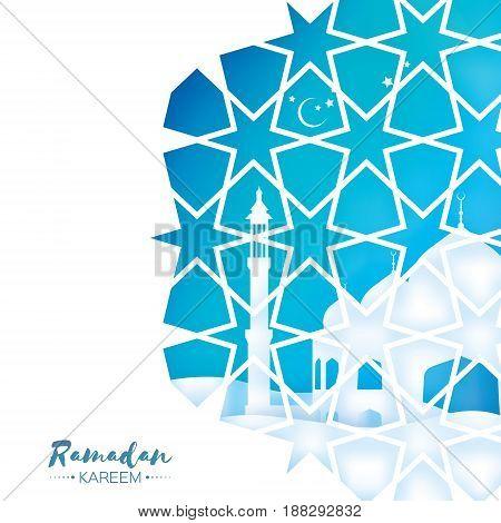 Ramadan Kareem Greeting card . Beautiful Mosque. Origami Arabesque Window. Arabic Ornamental pattern in paper cut style. Holy month of muslim. Crescent Moon.Symbol of Islam. Blue. Vector illustration.