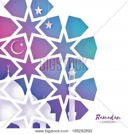 Ramadan Kareem Greeting card. Beautiful Mosque.Origami Arabesque Window. Arabic Ornamental pattern in paper cut style. Holy month of muslim. Crescent Moon. Symbol of Islam. Purple.Vector illustration.