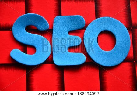 word seo on a abstract col;orful background