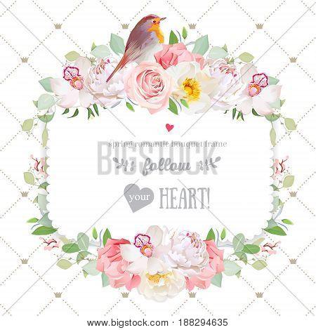 Square vector design frame. Orchid, wild rose, carnation, peony, robin bird. Cute spring decoration. Simple backdrop with diagonal lines and princess crowns. All elements are isolated and editable