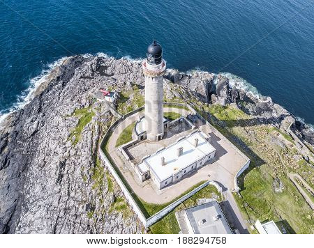 Aerial view of Ardnamurchaan Lighthouse which is the most westerly point of the United Kingdom