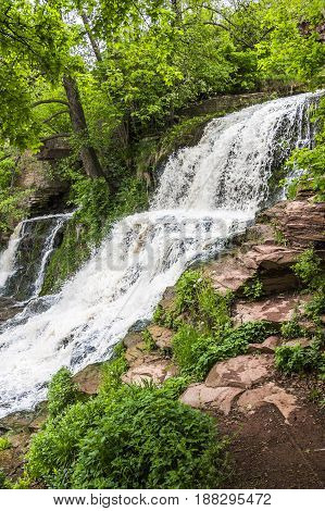 view of Dzhurynskyi (Chervonohorodskyi) waterfall is located on the Dzhuryn river Ternopil region of western Ukraine