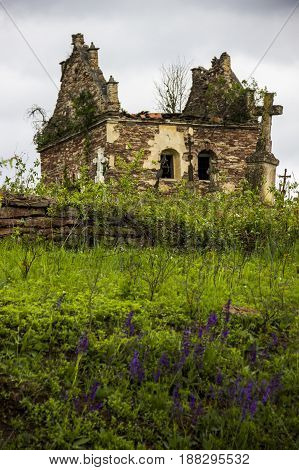 old ruined catholic church near the cemetery