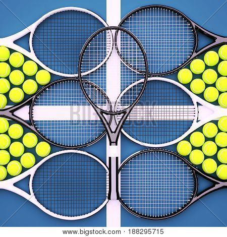 Tennis rackets with balls on hard surface court. Square. 3D illustration