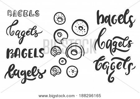 Bagel word. Can be used for t-shirt, banner, card and other design projects. Bagel logo.