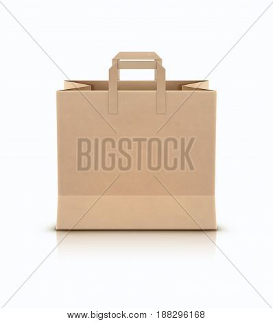 Vector illustration of shopping paper bag with paper handles isolated on white background