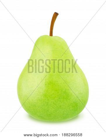 Ripe green pear isolated on a white