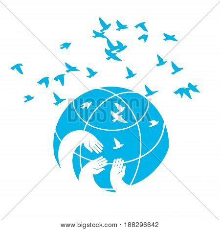 Icon a symbol of peace blue planet. Hands on the globe releasing into the sky of birds. Universal vector illustration isolated on white background.