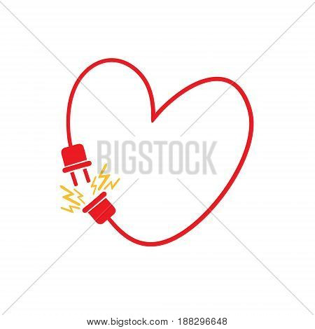 Vector heart made from electric line with plug. Love connection concept. Original vector illustration handmade