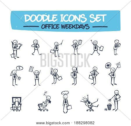 Doodle Icons Set - Drawn Office Man. Sketch Illustration of Hand Drawn Character Depicting Different Emotions and Scenes of Office Life. Drawing Line Icons for Web, Business, and Your Presentations .
