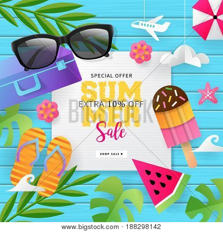 Summer Sale Banner Template For Social Media And Mobile Apps With Paper Art Travel And Vacation Back