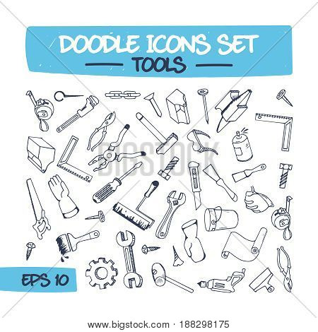 Doodle Icons Set of Hand Tools. Sketch Sign Illustration of Hand Drawn Tools. Hand Tools Drawn in Doodle Style.