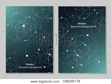 Modern vector templates for brochure cover in A4 size. Abstract geometric background with connected circles and dots. Business, science, medicine and technology design.