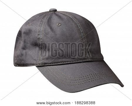 Hat Isolated On White Background. Hat With A Visor.gray Hat
