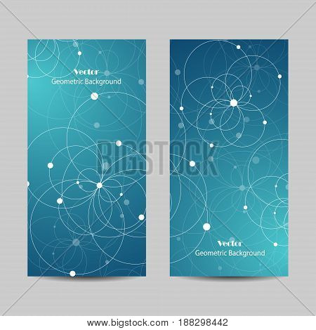 Set of vertical banners. Abstract geometric background with connected circles and dots. Vector illustration.
