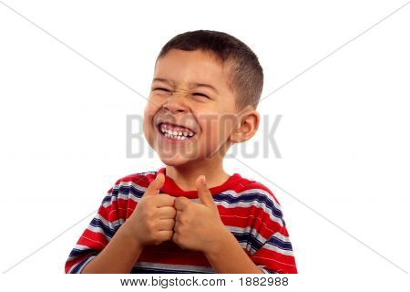 Boy Making A Funny Face And Thumbs Up