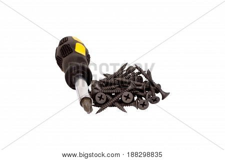 Screws And Screwdriver Isolated