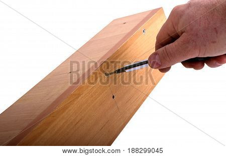 Self-assembly Furniture, Hand With An Allen Key