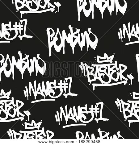 Vector tags seamless pattern. Fashion graffiti hand drawing texture, street art retro style vintage design for t-shirt skateboard textile wrapping paper in black white