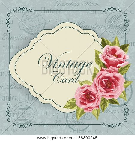 Beautiful invitation card with flowers. Vintage postcard background. Vector illustration.