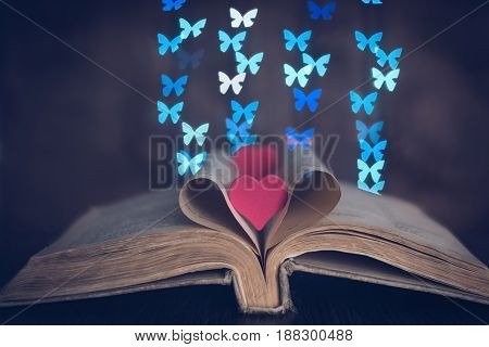 A book with heart and bokeh butterflies.