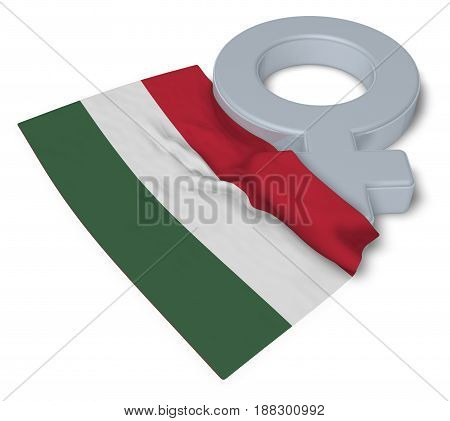symbol for feminine and flag of hungary - 3d rendering