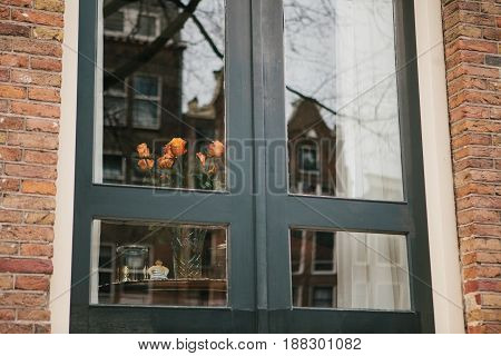 Holland roses in the window in Amsterdam. Reflection of traditional Dutch houses in the window. A happy event. Conceptual image.