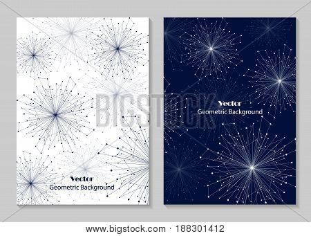 Modern vector templates for brochure cover in A4 size. Abstract geometric background with connected lines and dots. Business, science, medicine and technology design.