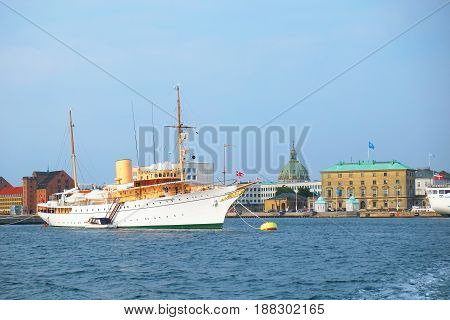 The Royal Ship Is In The Harbour In Front Of Amalienborg In Copenhagen.